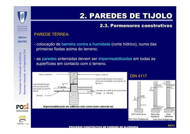 DECivil GESTEC 5454//7171 TecnologiadaConstruçãodeEdifícios MestradoIntegradoemEngenhariaCivil 2. PAREDES DE TIJOLO2. PARE...