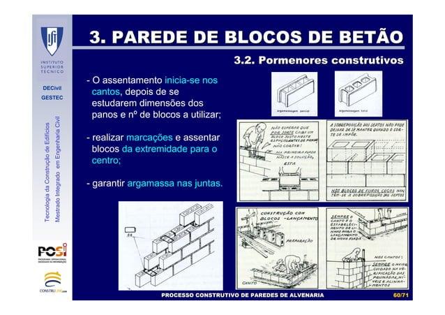 DECivil GESTEC 6060//7171 TecnologiadaConstruçãodeEdifícios MestradoIntegradoemEngenhariaCivil 3. PAREDE DE BLOCOS DE BETÃ...