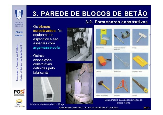 DECivil GESTEC 6565//7171 TecnologiadaConstruçãodeEdifícios MestradoIntegradoemEngenhariaCivil 3. PAREDE DE BLOCOS DE BETÃ...
