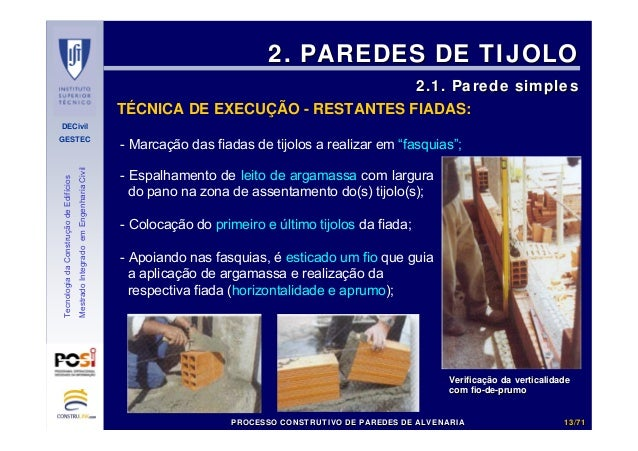 DECivil GESTEC 1313//7171 TecnologiadaConstruçãodeEdifícios MestradoIntegradoemEngenhariaCivil - Marcação das fiadas de ti...