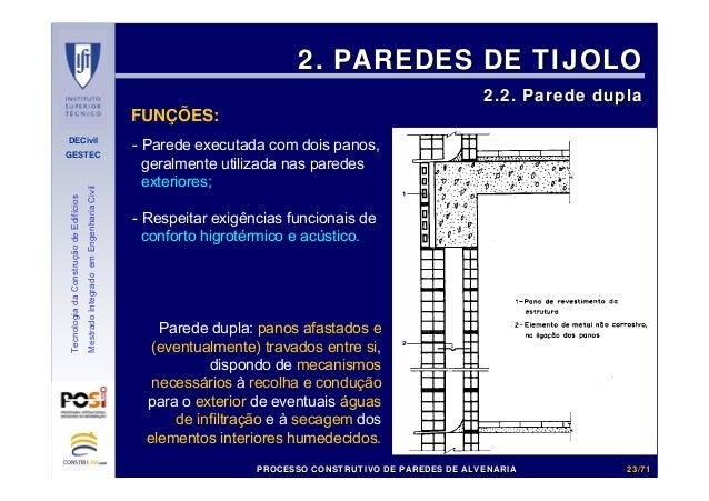 DECivil GESTEC 2323//7171 TecnologiadaConstruçãodeEdifícios MestradoIntegradoemEngenhariaCivil FUNÇÕES: 2. PAREDES DE TIJO...