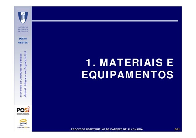 DECivil GESTEC 33//7171 TecnologiadaConstruçãodeEdifícios MestradoIntegradoemEngenhariaCivil 1. MATERIAIS E EQUIPAMENTOS P...
