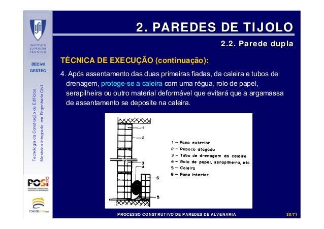DECivil GESTEC 3030//7171 TecnologiadaConstruçãodeEdifícios MestradoIntegradoemEngenhariaCivil 4. Após assentamento das du...