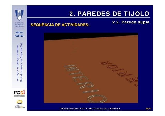 DECivil GESTEC 3636//7171 TecnologiadaConstruçãodeEdifícios MestradoIntegradoemEngenhariaCivil SEQUÊNCIA DE ACTIVIDADES: 2...