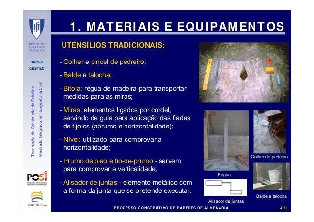 DECivil GESTEC 44//7171 TecnologiadaConstruçãodeEdifícios MestradoIntegradoemEngenhariaCivil - Colher e pincel de pedreiro...