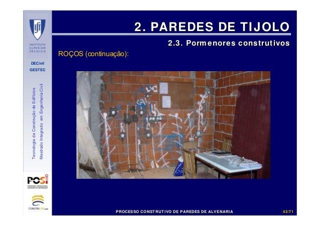DECivil GESTEC 4343//7171 TecnologiadaConstruçãodeEdifícios MestradoIntegradoemEngenhariaCivil 2. PAREDES DE TIJOLO2. PARE...
