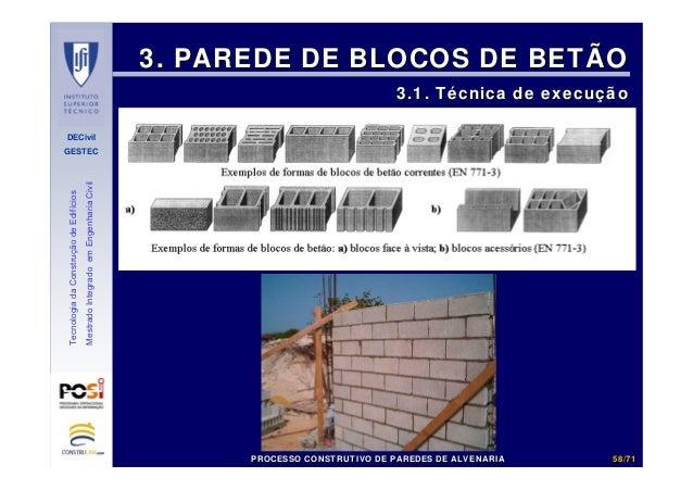 DECivil GESTEC 5858//7171 TecnologiadaConstruçãodeEdifícios MestradoIntegradoemEngenhariaCivil 3. PAREDE DE BLOCOS DE BETÃ...