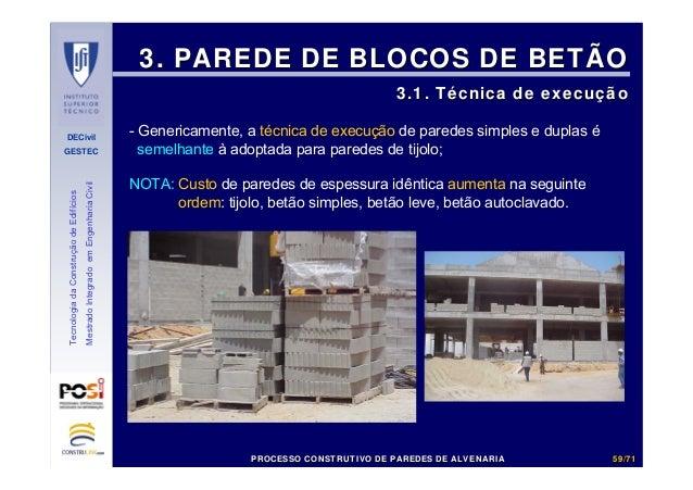 DECivil GESTEC 5959//7171 TecnologiadaConstruçãodeEdifícios MestradoIntegradoemEngenhariaCivil 3. PAREDE DE BLOCOS DE BETÃ...