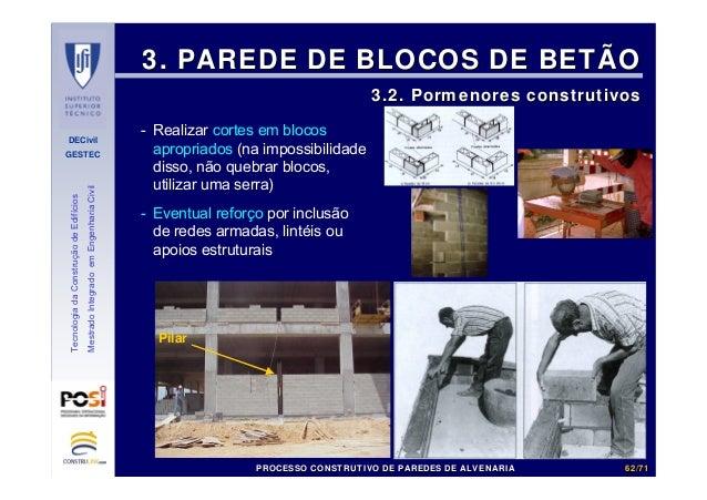 DECivil GESTEC 6262//7171 TecnologiadaConstruçãodeEdifícios MestradoIntegradoemEngenhariaCivil 3. PAREDE DE BLOCOS DE BETÃ...