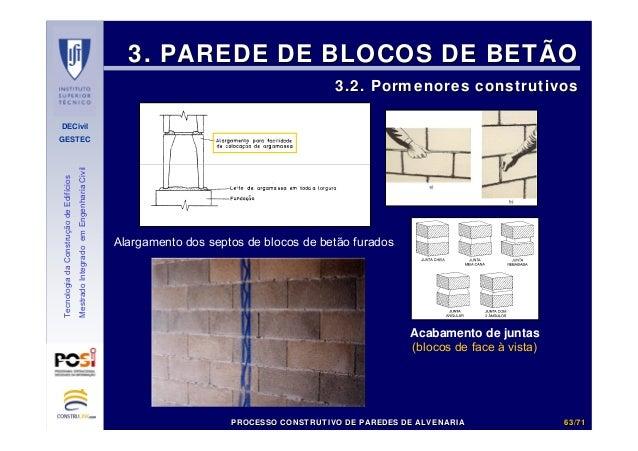 DECivil GESTEC 6363//7171 TecnologiadaConstruçãodeEdifícios MestradoIntegradoemEngenhariaCivil 3. PAREDE DE BLOCOS DE BETÃ...