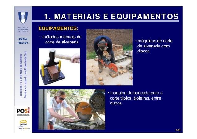 DECivil GESTEC 77//7171 TecnologiadaConstruçãodeEdifícios MestradoIntegradoemEngenhariaCivil 1. MATERIAIS E EQUIPAMENTOS1....