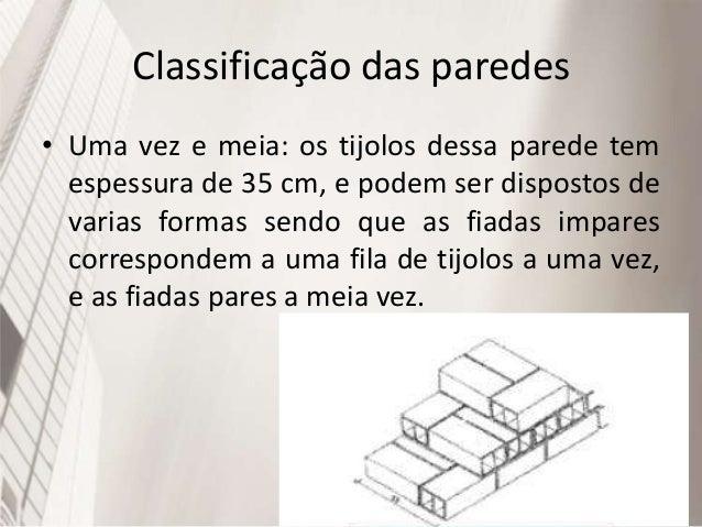 Classificação das paredes • Oca: são alvenarias usadas quando se pretende grande isolamento de som e umidade, além de dimi...