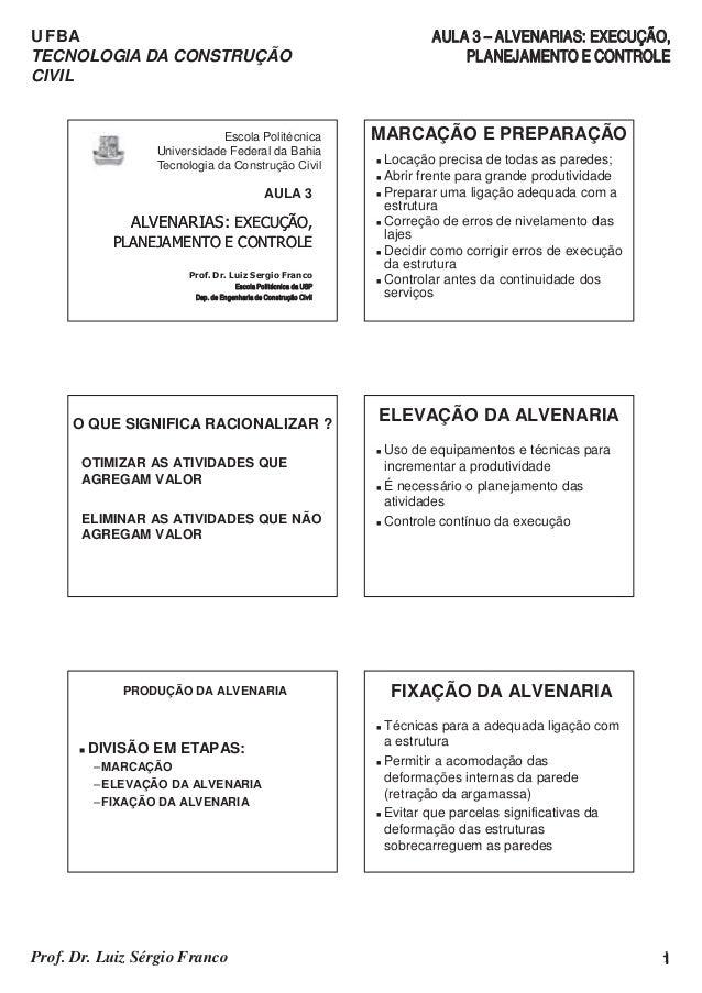 UFBA TECNOLOGIA DA CONSTRUÇÃO CIVIL AULA 3 – ALVENARIAS: EXECUÇÃO, PLANEJAMENTO E CONTROLE 1Prof. Dr. Luiz Sérgio Franco 1...