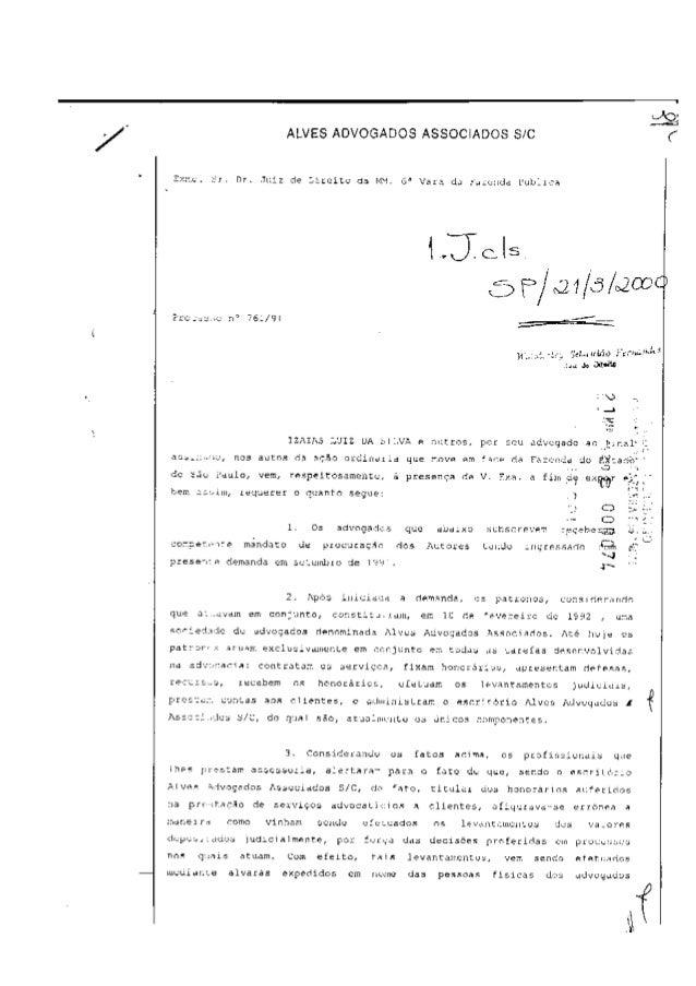 /  «lê  ALVES ADVOGADOS ASSOCIADOS SIC  2:›: .~. .c.   Dr.  .Juiz de Liycitc da l     ü' Vara da f-. táciídd Publica  'Jem...