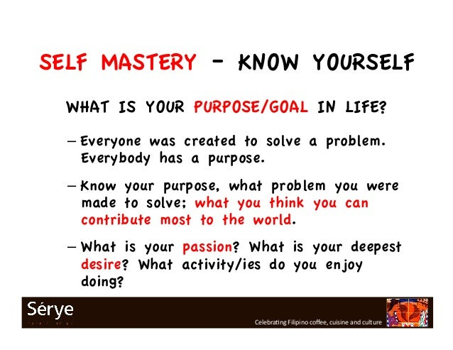 What is self mastery defined