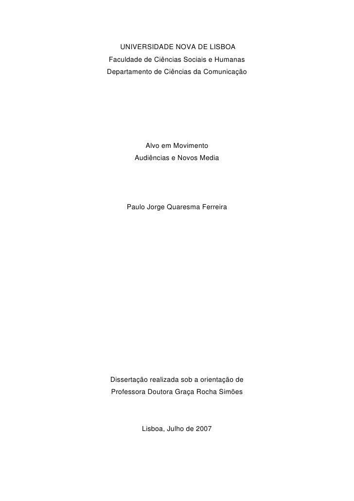 UNIVERSIDADE NOVA DE LISBOAFaculdade de Ciências Sociais e HumanasDepartamento de Ciências da Comunicação          Alvo em...