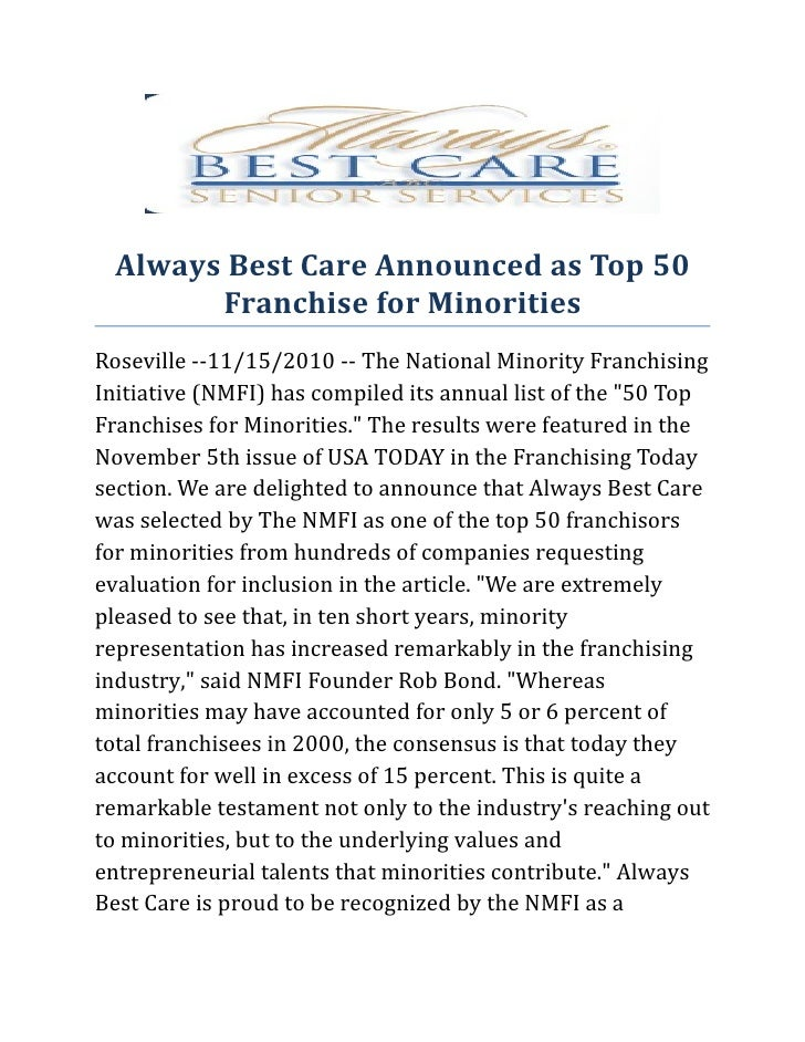Always Best Care Announced as Top 50 Franchise for Minorities