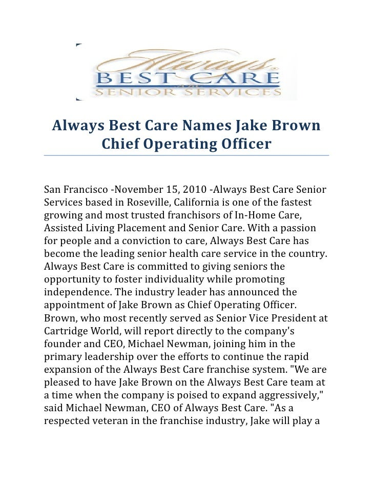 Always Best Care Names Jake Brown Chief Operating Officer