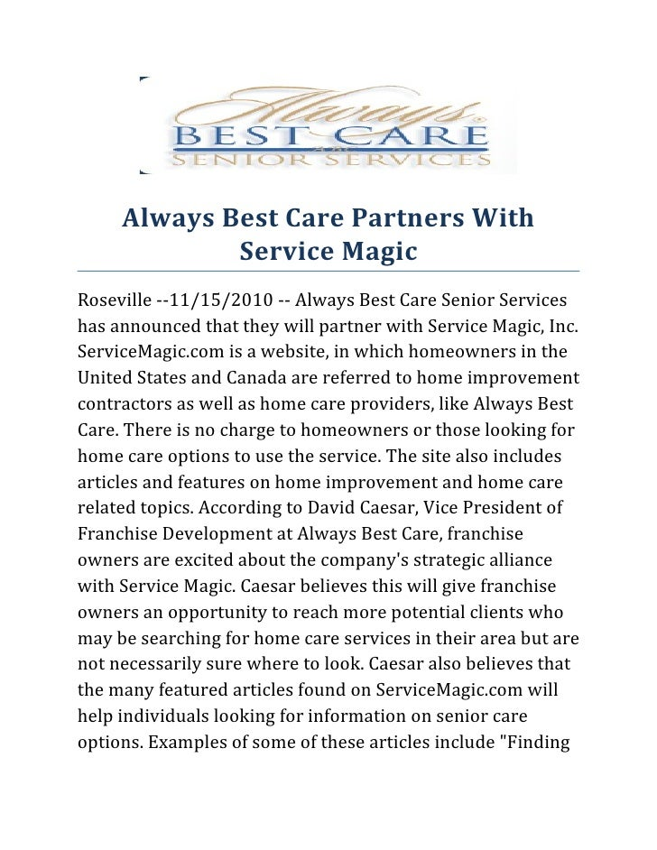 Always best care partners with service magic