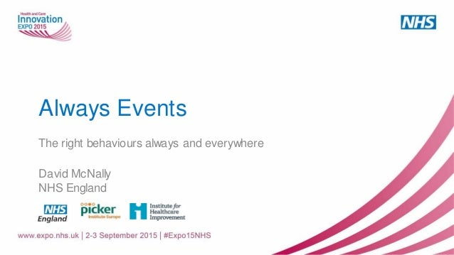 Always Events The right behaviours always and everywhere David McNally NHS England