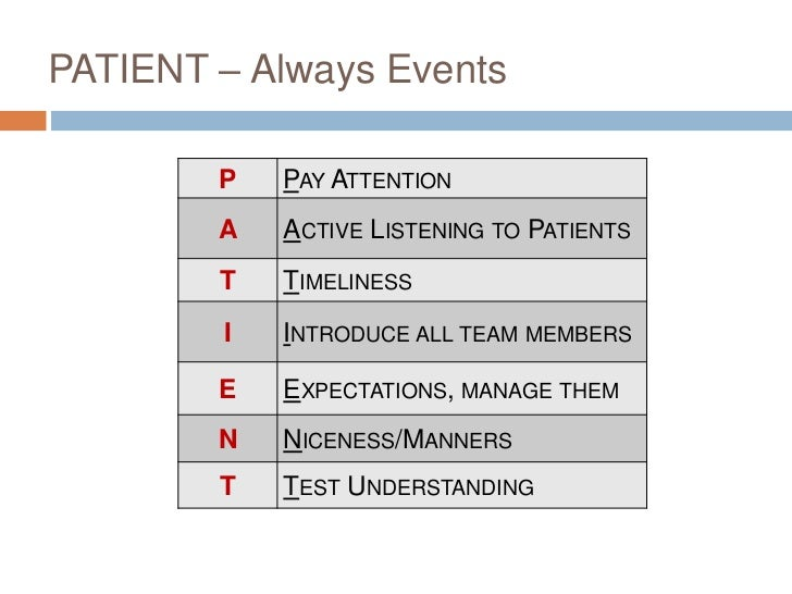 PATIENT – Always Events        P   PAY ATTENTION        A   ACTIVE LISTENING TO PATIENTS        T   TIMELINESS        I   ...