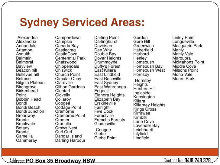 Sydney Serviced Areas:   Alexandria       Camperdown        Darling Point     Gordon              Linley Point  Alexandria...