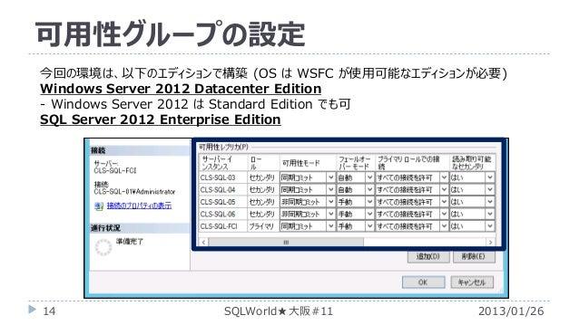 可用性グループの設定 今回の環境は、以下のエディションで構築 (OS は WSFC が使用可能なエディションが必要) Windows Server 2012 Datacenter Edition - Windows Server 2012 は ...