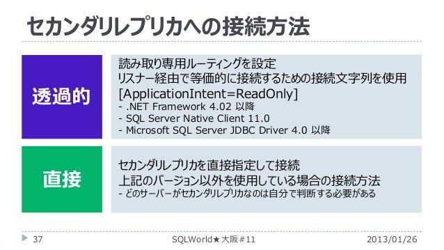 セカンダリレプリカへの接続方法 透過的  直接 37  読み取り専用ルーティングを設定 リスナー経由で等価的に接続するための接続文字列を使用 [ApplicationIntent=ReadOnly] - .NET Framework 4.02 ...
