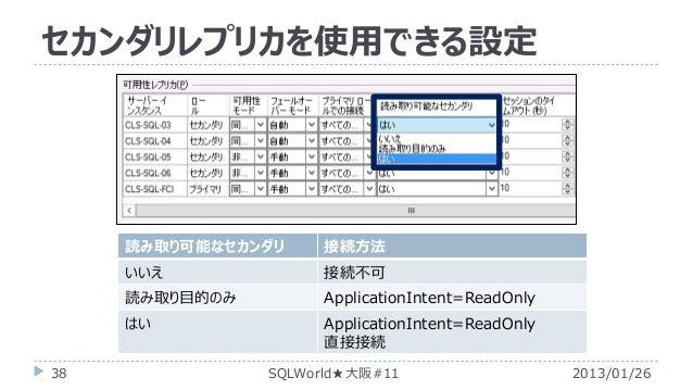 セカンダリレプリカを使用できる設定  読み取り可能なセカンダリ  いいえ  接続不可  読み取り目的のみ  ApplicationIntent=ReadOnly  はい 38  接続方法  ApplicationIntent=ReadOnly ...
