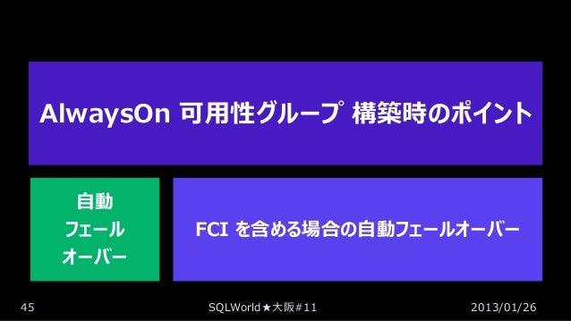 AlwaysOn 可用性グループ 構築時のポイント 自動 フェール オーバー 45  FCI を含める場合の自動フェールオーバー  SQLWorld★大阪#11  2013/01/26