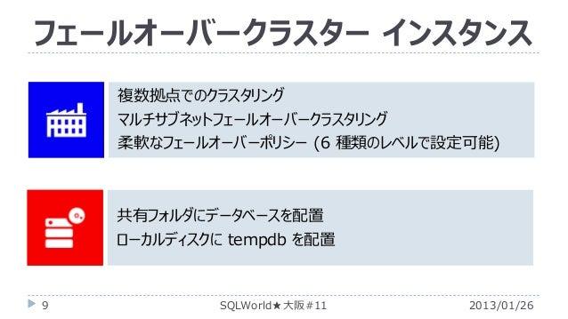 フェールオーバークラスター インスタンス 複数拠点でのクラスタリング マルチサブネットフェールオーバークラスタリング 柔軟なフェールオーバーポリシー (6 種類のレベルで設定可能)  共有フォルダにデータベースを配置 ローカルディスクに tem...