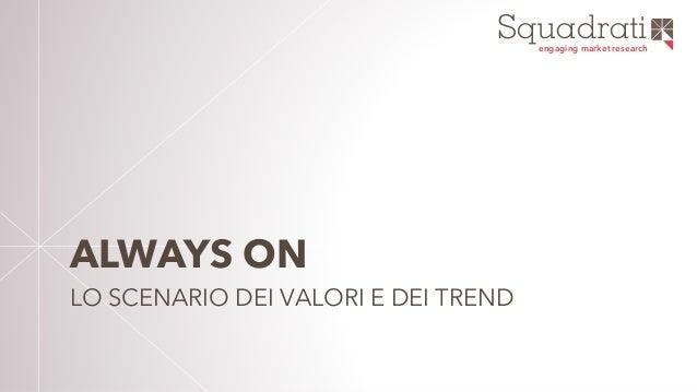 """Squadratiengaging market research """"ALWAYS ON"""" LO SCENARIO DEI VALORI"""
