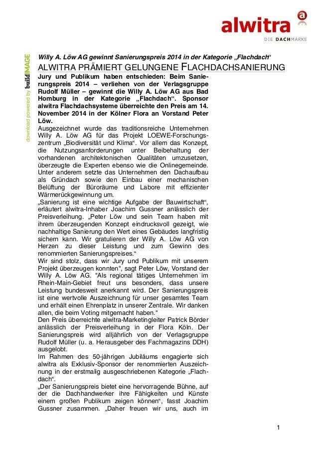 """Willy A. Löw AG gewinnt Sanierungspreis 2014 in der Kategorie """"Flachdach""""  ALWITRA PRÄMIERT GELUNGENE FLACHDACHSANIERUNG  ..."""