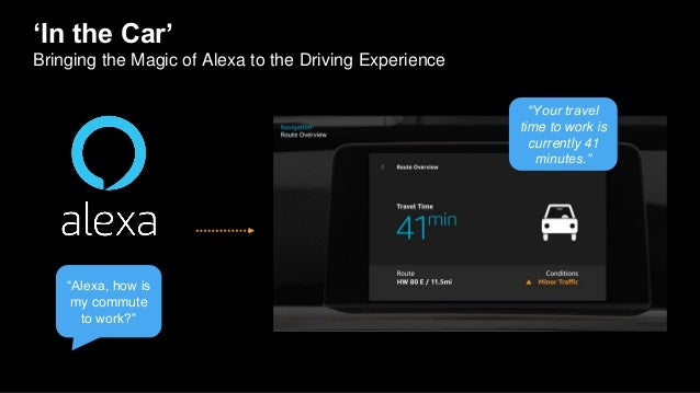 """'In the Car' Bringing the Magic of Alexa to the Driving Experience """"Your travel time to work is currently 41 minutes."""" """"Al..."""