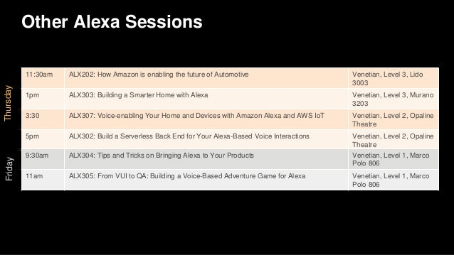 Other Alexa Sessions Thursday 11:30am ALX202: How Amazon is enabling the future of Automotive Venetian, Level 3, Lido 3003...
