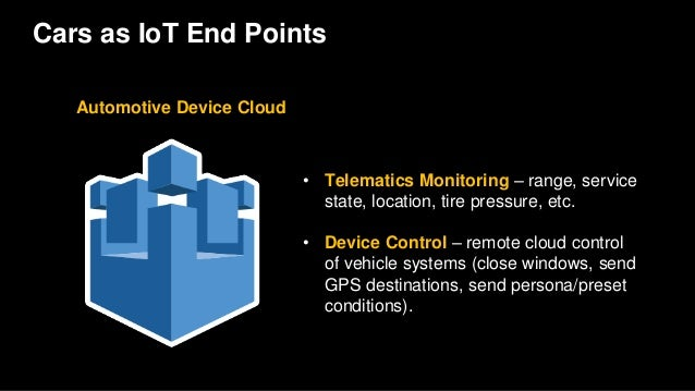 Cars as IoT End Points Automotive Device Cloud • Telematics Monitoring – range, service state, location, tire pressure, et...