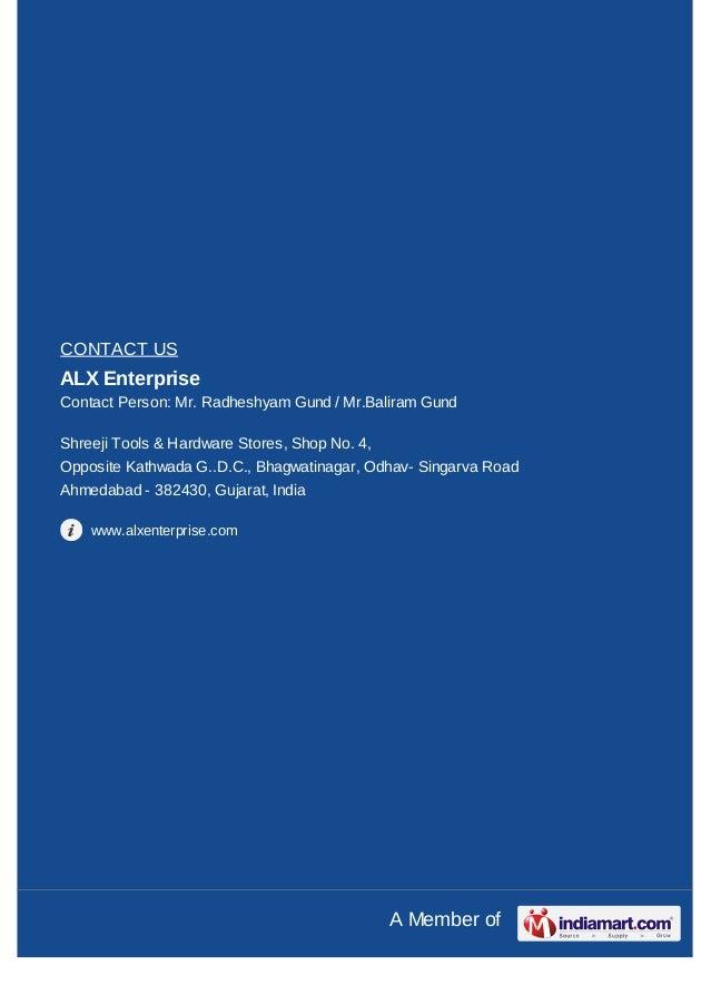CONTACT USALX EnterpriseContact Person: Mr. Radheshyam Gund / Mr.Baliram GundShreeji Tools & Hardware Stores, Shop No. 4,O...