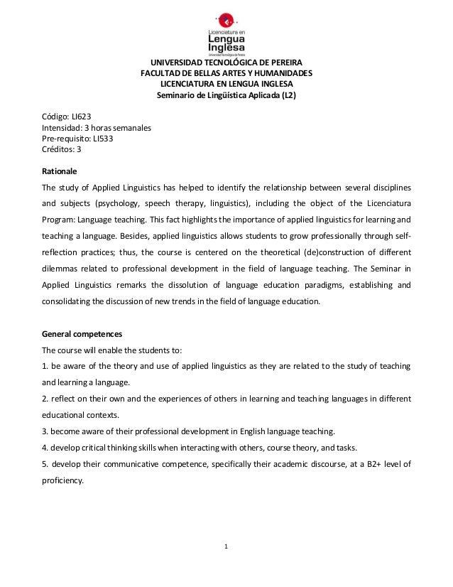 UNIVERSIDAD TECNOLÓGICA DE PEREIRA FACULTAD DE BELLAS ARTES Y HUMANIDADES LICENCIATURA EN LENGUA INGLESA Seminario de Ling...