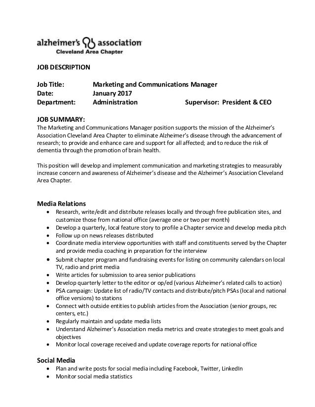 AlzheimerS Association  Marketing  Communication Manager