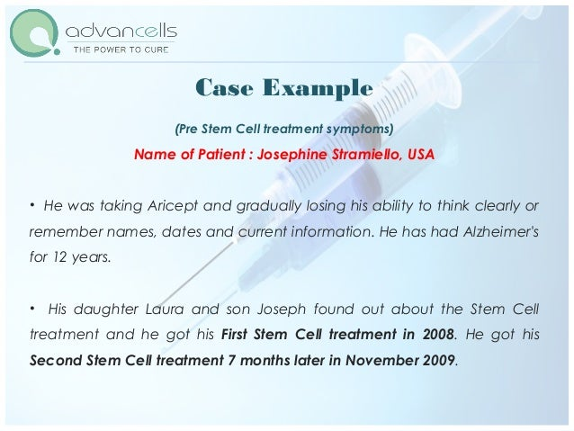 Post Stem Cells Treatment Name of Patient : Josephine Stramiello, USA Although his short term memory improved only slightl...