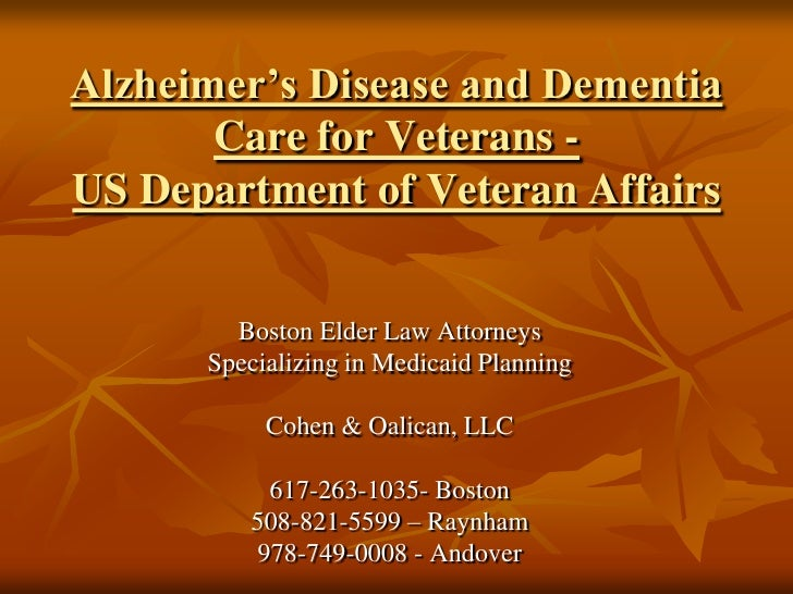Alzheimer's disease and dementia care for veterans us ...