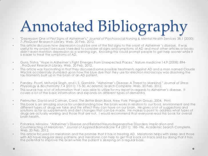 Annotated bibliography nursing education