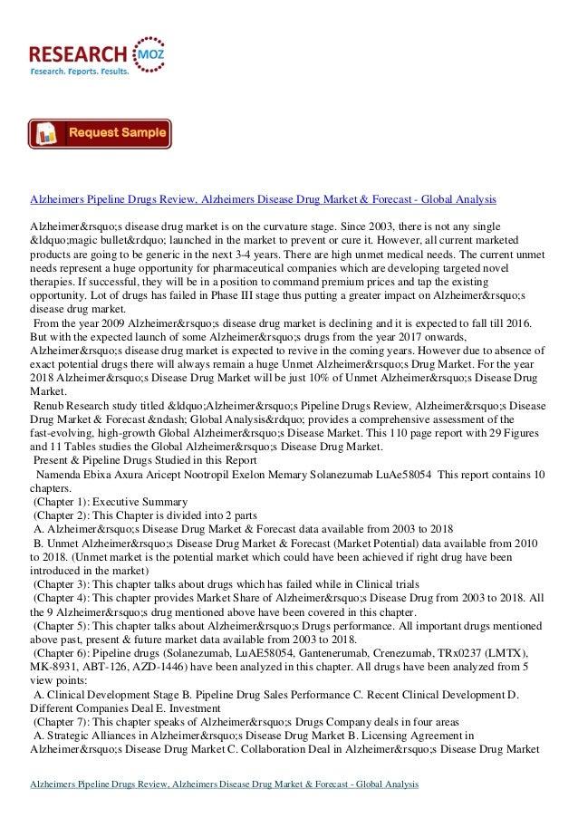 Alzheimers Pipeline Drugs Review, Alzheimers Disease Drug Market & Forecast - Global Analysis Alzheimer's disease dr...