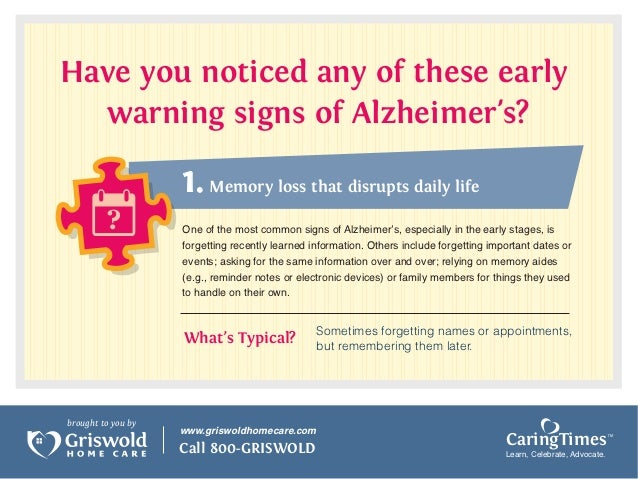 2. Have you noticed any of these early warning signs of Alzheimers?
