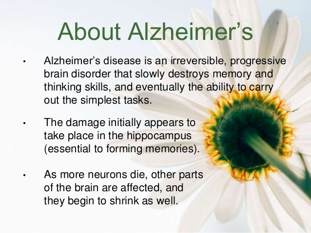alzheimers disease what is it Answer by jae starr, 15-plus years working with alzheimer's and related dementias: this is an excellent question, and one i've considered often in the.