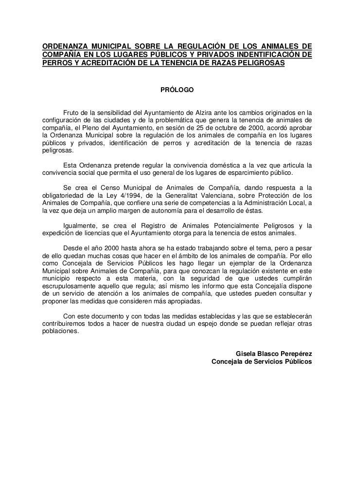 ORDENANZA MUNICIPAL SOBRE LA REGULACIÓN DE LOS ANIMALES DECOMPAÑÍA EN LOS LUGARES PÚBLICOS Y PRIVADOS INDENTIFICACIÓN DEPE...