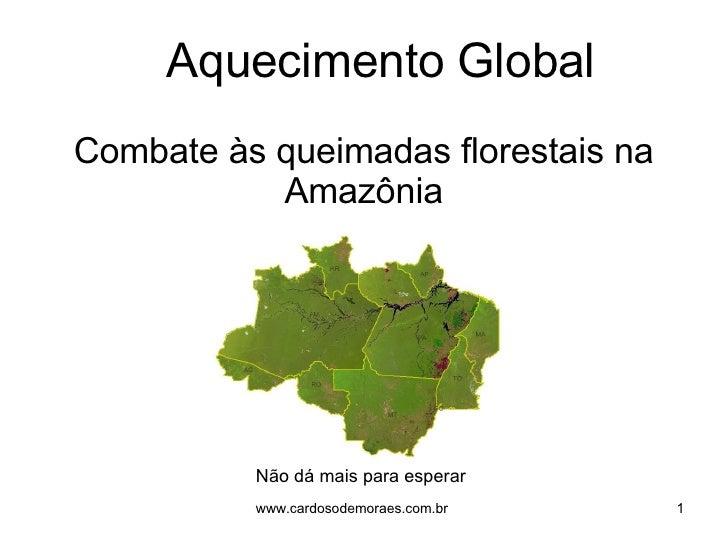 Combate às queimadas florestais na Amazônia Não dá mais para esperar Aquecimento Global