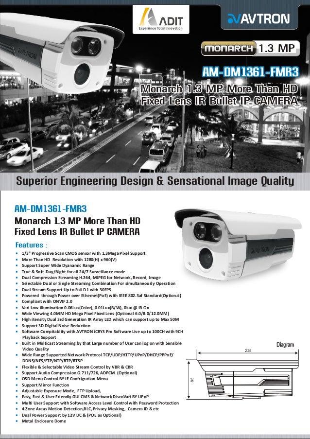 1.3 MP  AM-DM1361-FMR3 Monarch 1.3 MP More Than HD Fixed Lens IR Bullet IP CAMERA  Superior Engineering Design & Sensation...