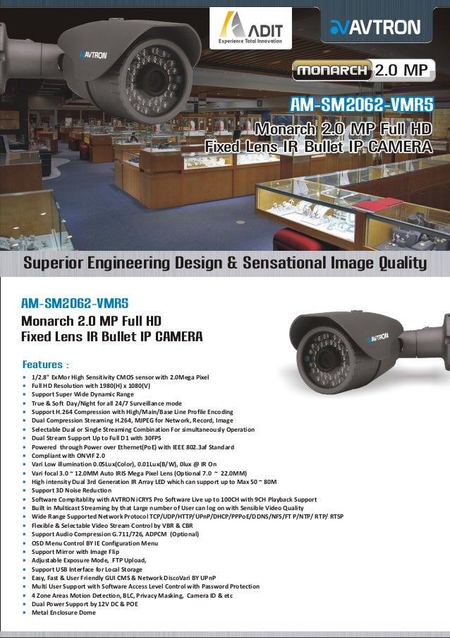 2.0 MP  AM-SM2062-VMR5 Monarch 2.0 MP Full HD Fixed Lens IR Bullet IP CAMERA  Superior Engineering Design & Sensational Im...