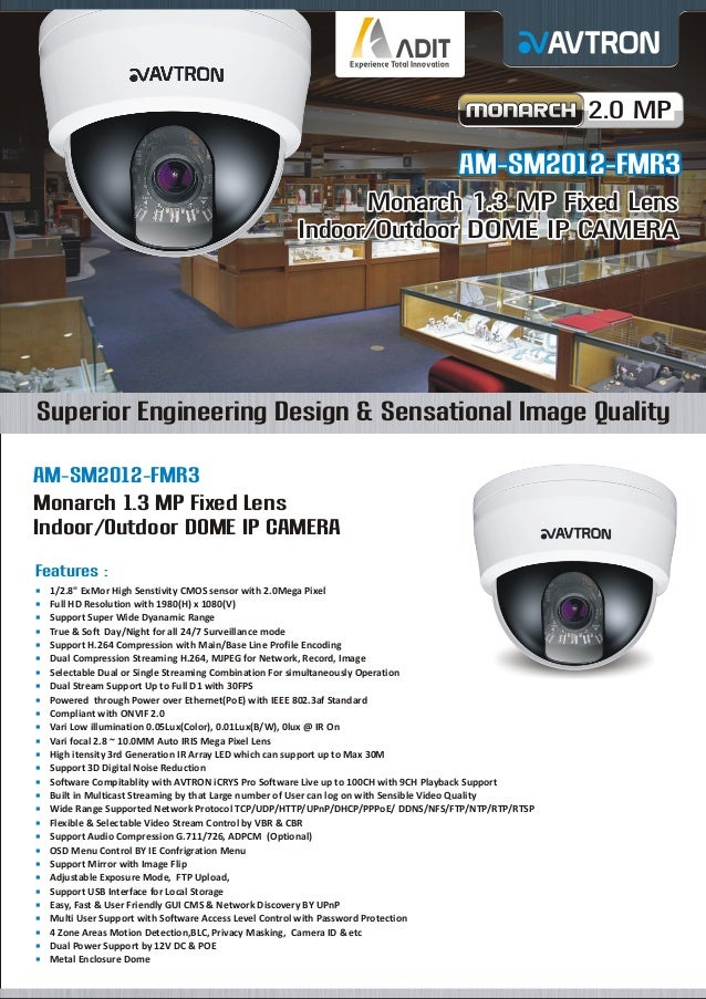 2.0 MP  AM-SM2012-FMR3 Monarch 1.3 MP Fixed Lens Indoor/Outdoor DOME IP CAMERA  Superior Engineering Design & Sensational ...